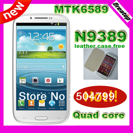 "New MTK6589 Quad Core Android 4.2 phone N9389 + leather case free 5.5"" 8.0MP Hebrew/Polish/Russian Singpore post Free shipping"