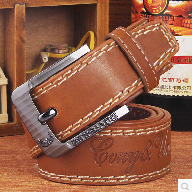free shipping cowhide genuine leather belts for men brand Strap male pin buckle beits fancy vintage jeans cowboy belt(China (Mainland))
