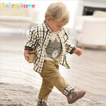 babzapleume Brand Autumn Kids Boys Clothing Casual Long Sleeve Plaid Coat+T-Shirt+Jean 3PCS Baby Outtfit Children Clothes BC1034