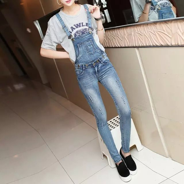 2015 New Fashion Women's Jumpsuit Jeans, Personalized Girls Removable Strap Blue Jeans Pocket Holes In Denim Jeans Siamese,6128(China (Mainland))