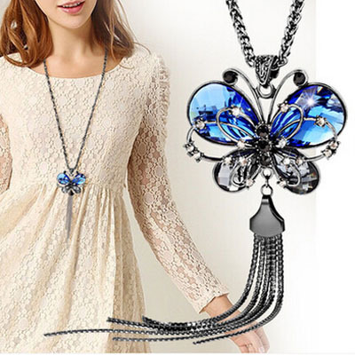 New Brand Vintage Blue Butterfly Necklace Crystal pendant necklace Zinc Alloy long Chain Fashion 2015 Women