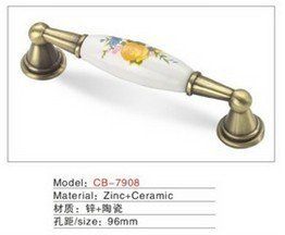 Best selling Ceramic Zinc Alloy Kitchen Cabinet Furniture Handle CB7908