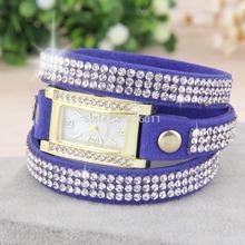 1pcs 2015 New Fashion Women s Vintage Square Dial Rhinestone Weave Wrap Multilayer Leather Bracelet Wrist