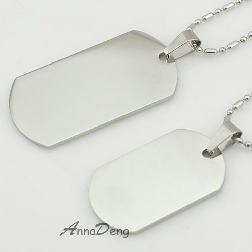 Dog Tag Silver 316L Stainless Steel Pendant Necklace Military Soldiers metal stamping blanks Tags KJP08  -  AnnaDeng Jewelry store
