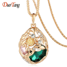 Buy DuoTan Brand Long Necklace Gold Plated Popcorn Chain Austrian Crystal Jewelry Pendant Necklaces Women Gift Rose Flower Necklace for $4.19 in AliExpress store