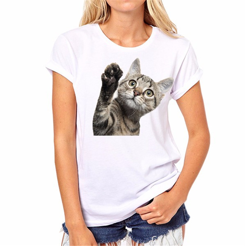 3d cat a lot of women's leisure coat T-shirt in summer styles for your choice Spring, summer women go out essential T-shirt 381#(China (Mainland))