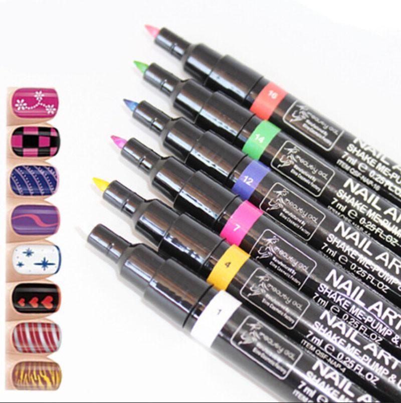 Black&White Charm Painting UV Gel Polish Manicure Nail Art Pen Painting Design Tools Painting Pen Tool, 2 Pcs/Lot