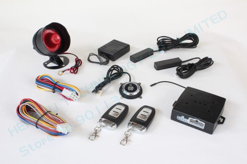 RFID car alarm,smart key car security system,PKE antenna,push start button,bypass keyless entry HY-904 chip avoidance device RM2(China (Mainland))