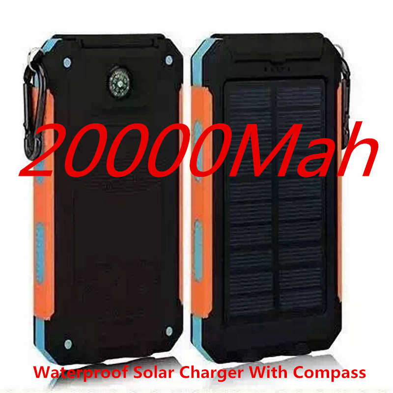 2016 WaterprooSolar Power bank Charger Dual USB Power Bank with LED Light for iPhone 6 Plus&Samsung Phone(China (Mainland))