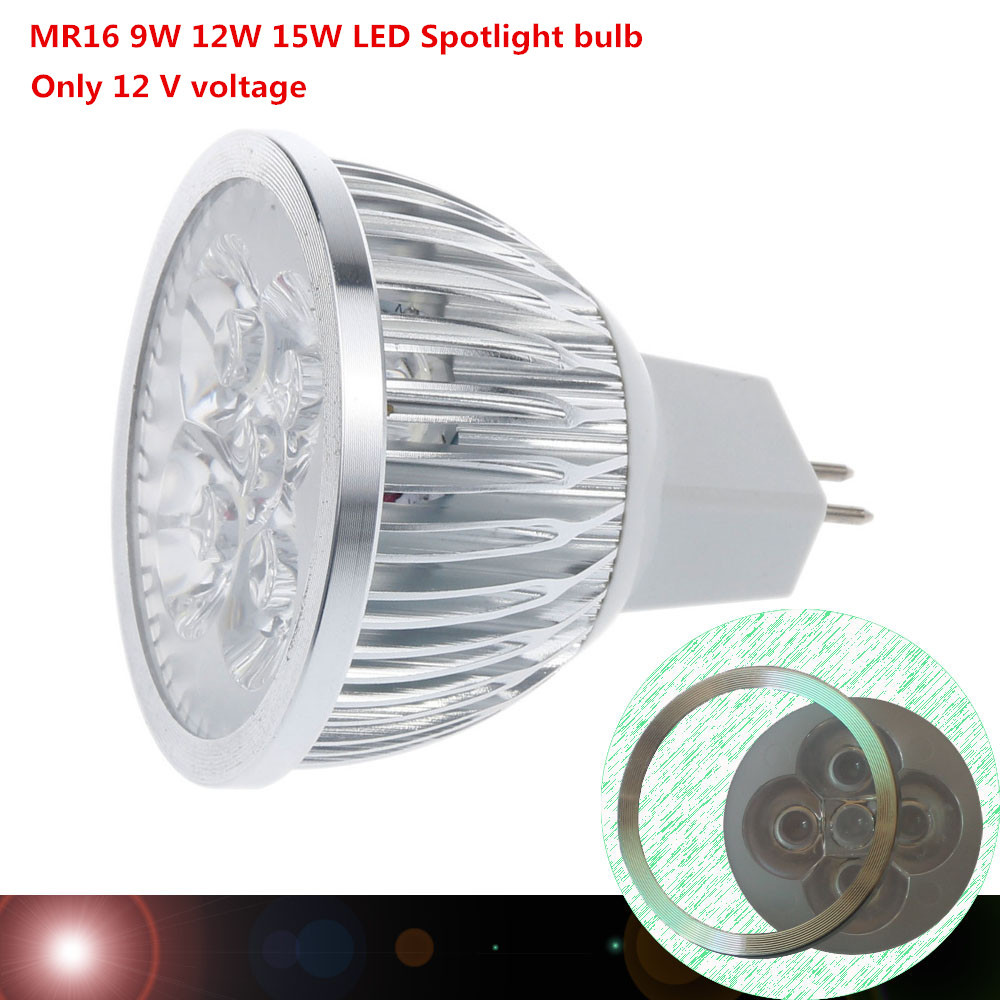 100X DHL high power MR16 12V 9W 12W 15W Dimmable led spotlight lamp bulb warm/cool white LED light(China (Mainland))