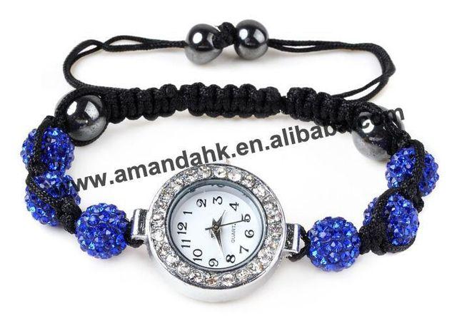 500pcs/lot Shamballa Jewelry Wholesale Wrist Watch Crystal Clay Shamballa Bracelet Watches Women Disco Ball Bead Shamballa Watch