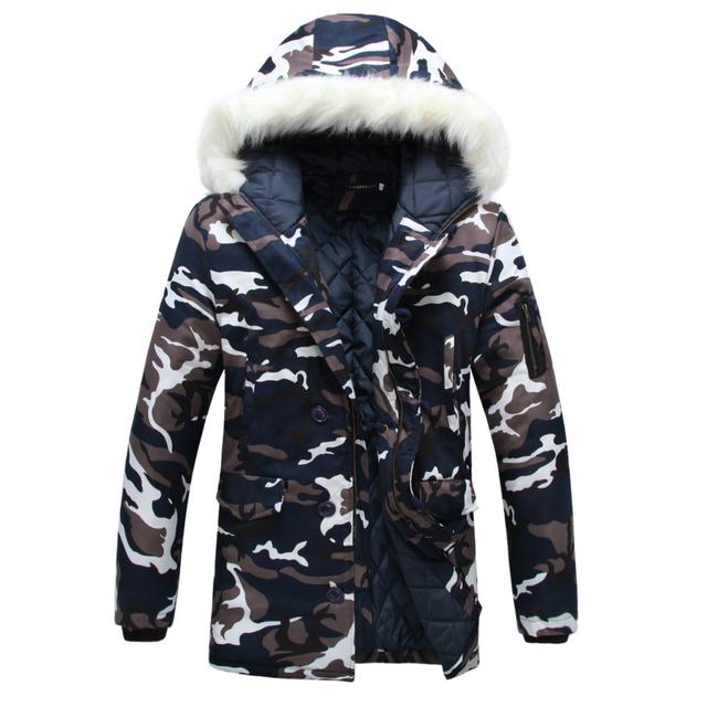 Зимний парка сгустите любители ватные куртки камуфляж большой меховой воротник хлопка-ватник ...