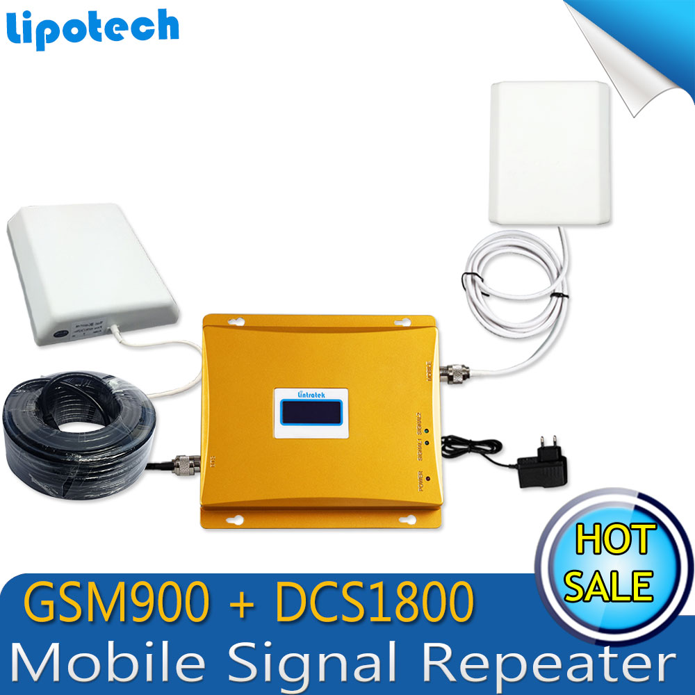 FULL SET 900 /1800mhz mobile signal booster cell phone GSM DCS dual band signal repeater+LCD Display!!! GSM signal amplifier(China (Mainland))