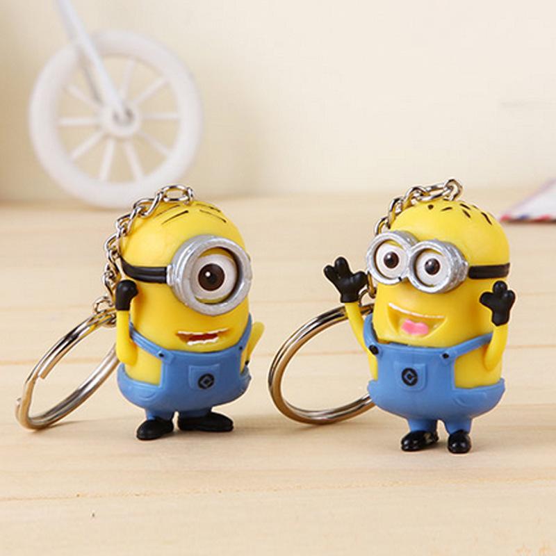 Cartoon Men Key Chain Despicable Me 3D Eye Small Llavero Minions Keychains For Handbag Charms toy Key Rings 2Pcs/Lot(China (Mainland))