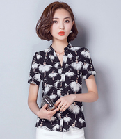 New style nice quality blusa feminino character print short sleeve chiffon blouse women for summer M/L/XL/2XL