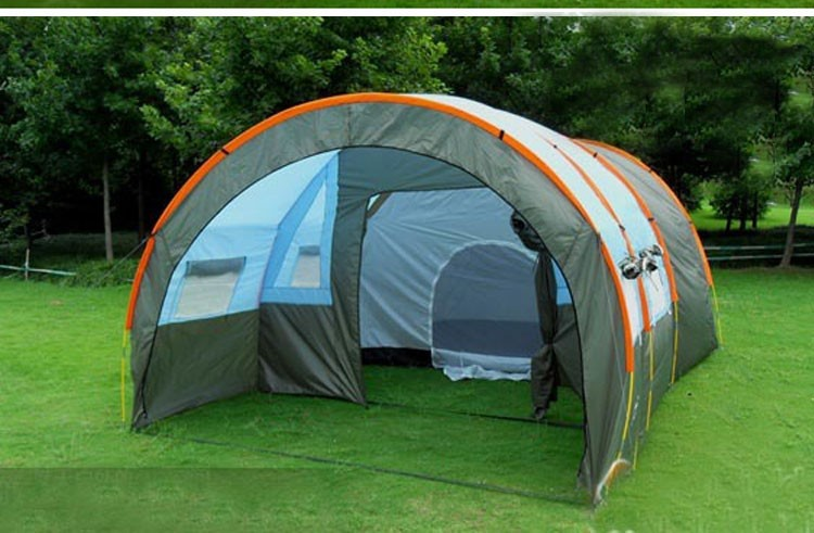 1x 480310210cm big doule layer tunnel tent 5-10 person outdoor camping family party hiking hunting fishing tourist tent house (1)