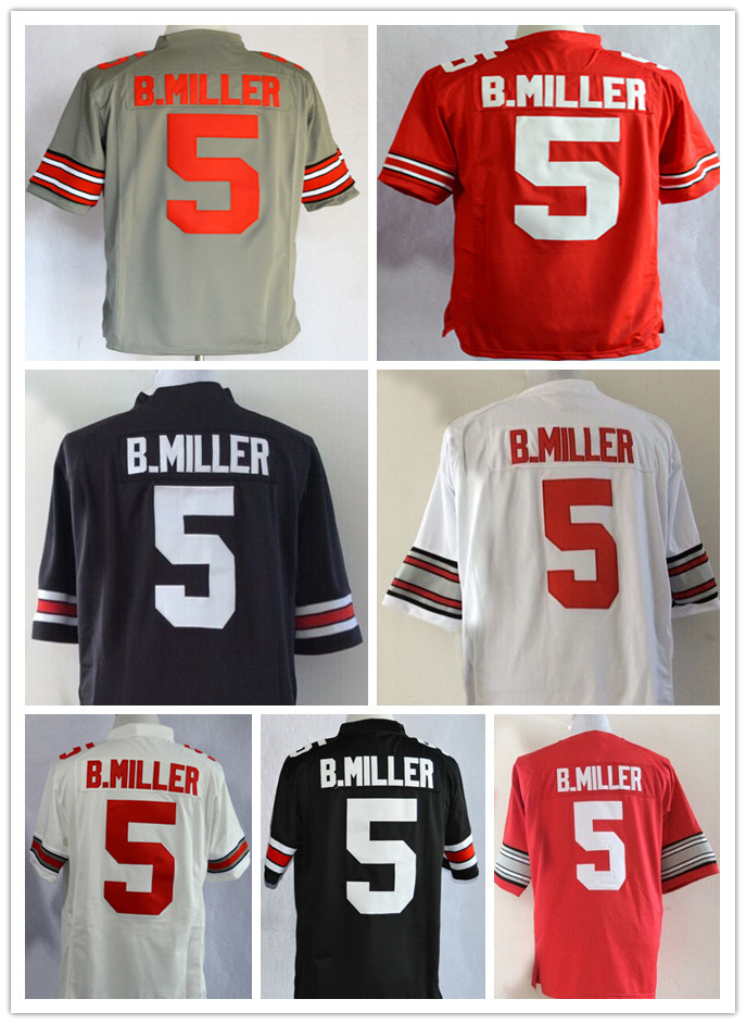 #5 Braxton Miller Jersey Ohio State Buckeyes American College Football Jersey Authentic Stitched Logos Red White M To XXXL(China (Mainland))