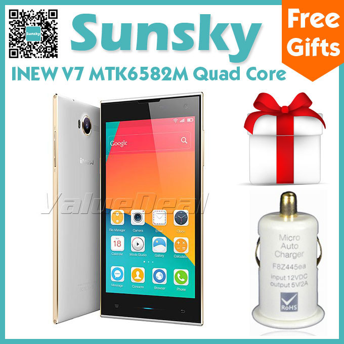 "Original iNEW V7 MTK6582 Quad Core Cell Phone Android 4.4 5.0""Full HD Screen 720P 1GB RAM 16GB ROM 16MP Camera 3G/GPS Smartphone(China (Mainland))"