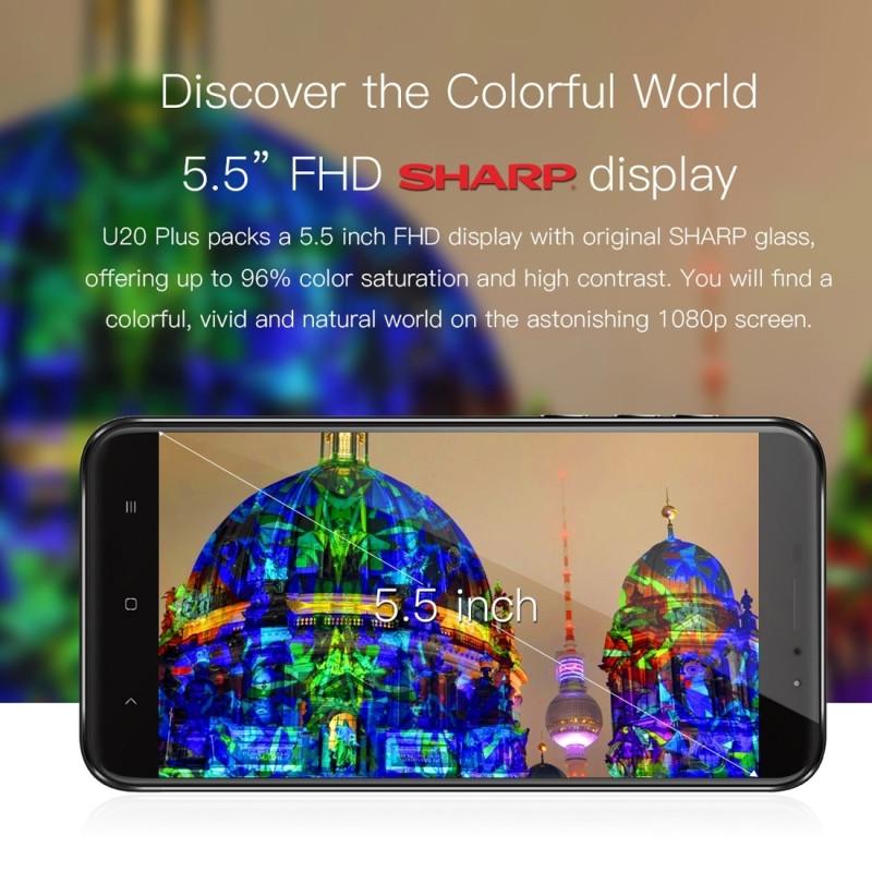 Original OUKITEL U20 Plus 4G Mobile Phone RAM 2GB ROM 16GB MTK6737T Quad-Core 5.5″ Android 6.0 Dual Lens Back Camera Smartphone