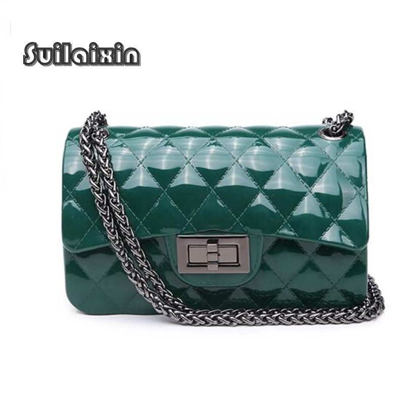 Women Jelly Bag Ladies Summer Beach Small Waterproof font b Plaid b font Chain Messenger Flap