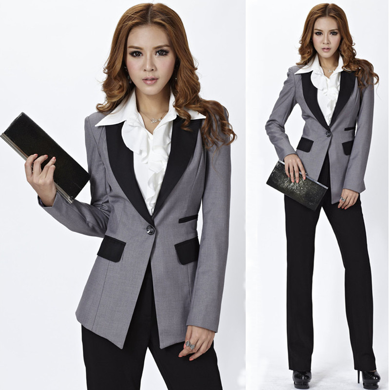 Cool  Wear Women39s Set Pants Slim Grey Suit Set Women39s Formal Work Wear