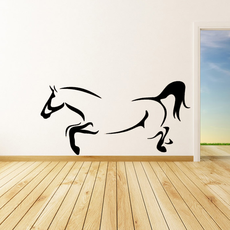 Simple Design Animal Outline Home Decor Wall Sticker Living Room Galloping Horse  Wall Decals Vinyl