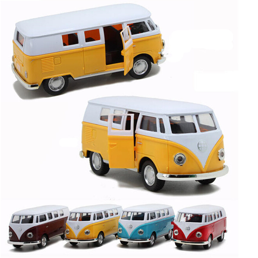 New Design Antique Miniature Cars Alloy Bus Toys for Children's Birthday Present, 4 Color Cute Car Model Kids Toys Free Shipping(China (Mainland))