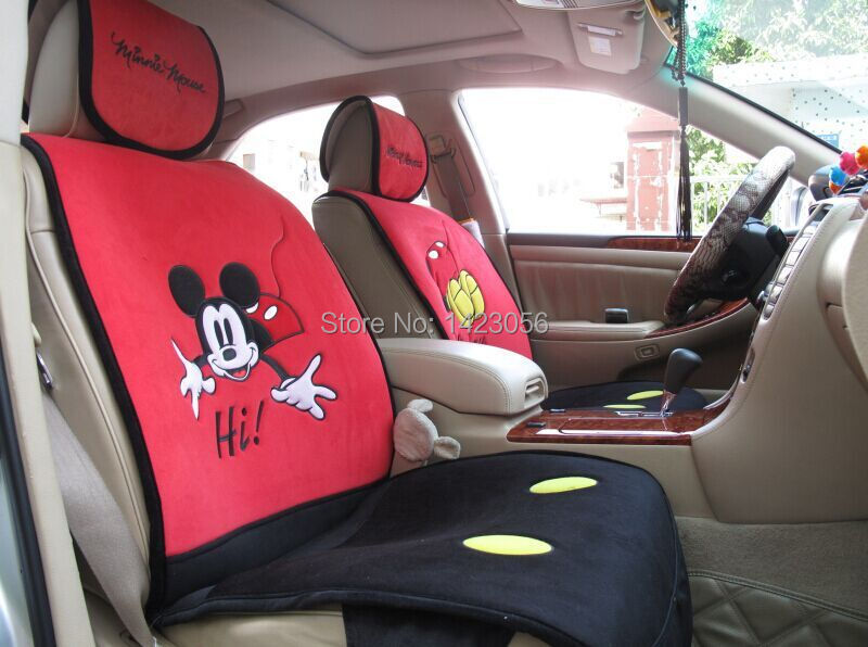 say hi mickey mouse car seat covers accessories for most 5 seat car interior vw chevrolet audi. Black Bedroom Furniture Sets. Home Design Ideas