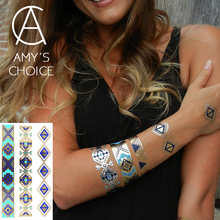 New Metallic Gold Silver Body Art Temporary Tattoo Sexy Flash Tattoos Sticker Free Shipping For Blue