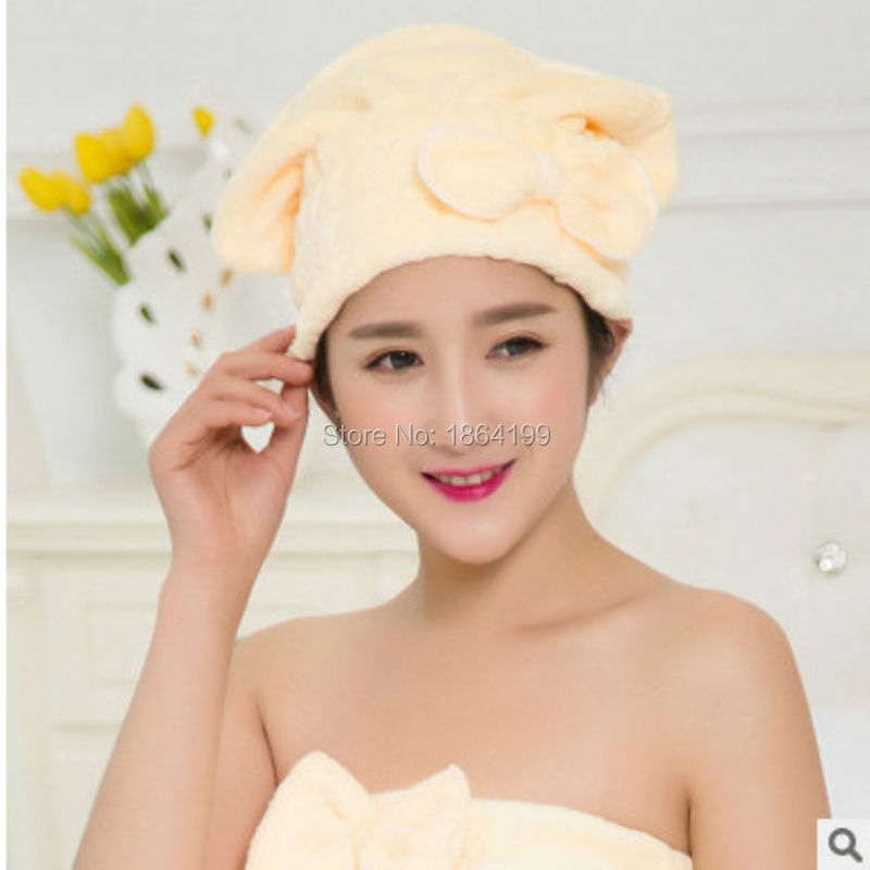 Korean coral cashmere super absorbent dry hair cap increased thickening shower cap cute bow Nightcap
