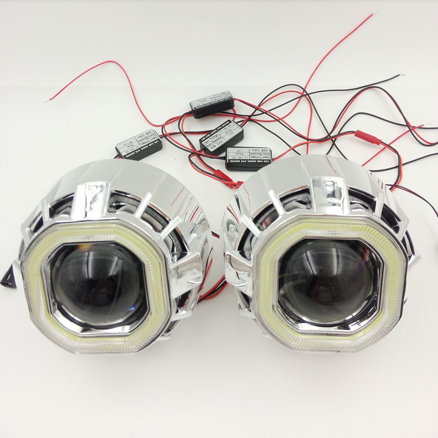 2.5''HID Bi-xenon Ultimate Lens Headlight Projector With LED Double Dual Angel Eyes Halo square H4 H7 adapter H1 bulbCar Styling(China (Mainland))