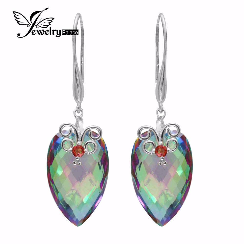 23ct Women Classic Huge Genuine Mystical Fire Rainbow Topaz Drop Earrings Pear Concave Cut Solid 925 Sterling Silver Brand New - Jewelrypalace Gemstones store