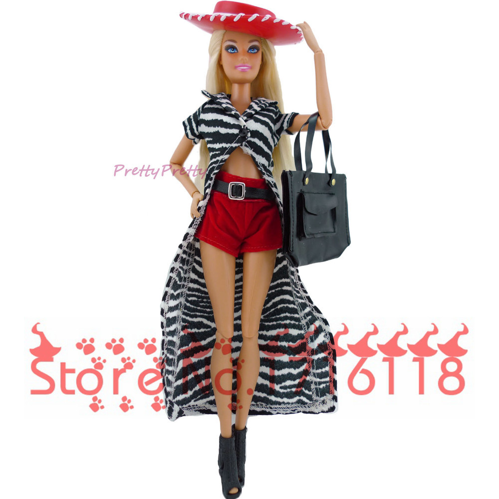 Randomly Choose three Units Unique Dolls Outfit Clothes Trendy Attire For Barbie Doll Informal Costume Fits Garments Child Toys