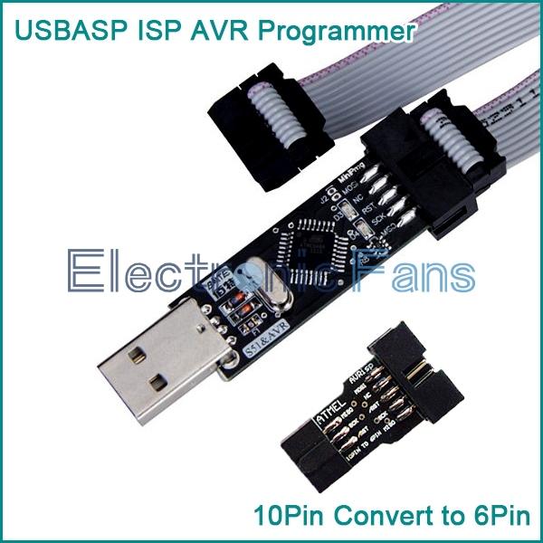USBASP USBISP AVR Programmer USB+10 Pin Convert to Standard 6Pin Adapter Board(China (Mainland))
