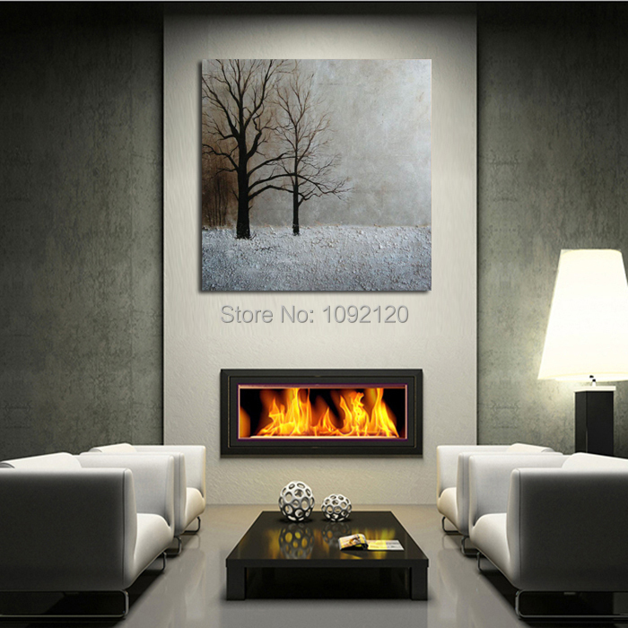 Hand-painted Modren Wall Art Decor Abstract Living Room Hall Winter Snow Tree Landscape Oil Painting On Canvas(China (Mainland))
