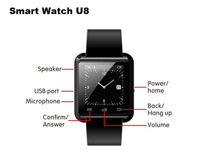 Bluetooth Smartwatch U8 U Smart Watch for Samsung S4Note 3 HTC Android Phone Smartphones Android Wear 3 Colors