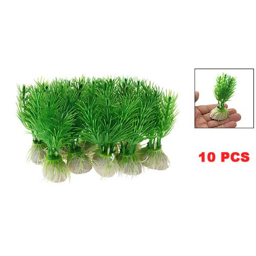 10pcs Green Plastic Plants Aquarium Fish Tank Decoration Ornament(China (Mainland))