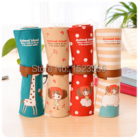 So Cute !!! HOT Free shipping Korea large capacity canvas contracted rolls pencil bag lovely girls pencil box pen curtain