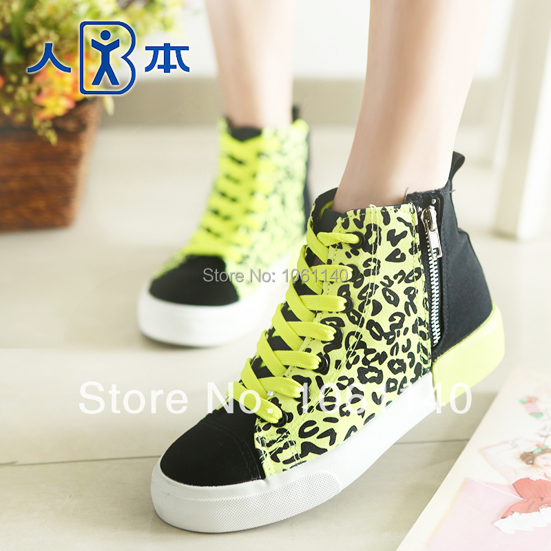 2014 Spring Leopard hight increasing women's shoes color block sweet canvas Fashion Yellow Black Ladies High Shoes - Angel Fly Beauty Shop store