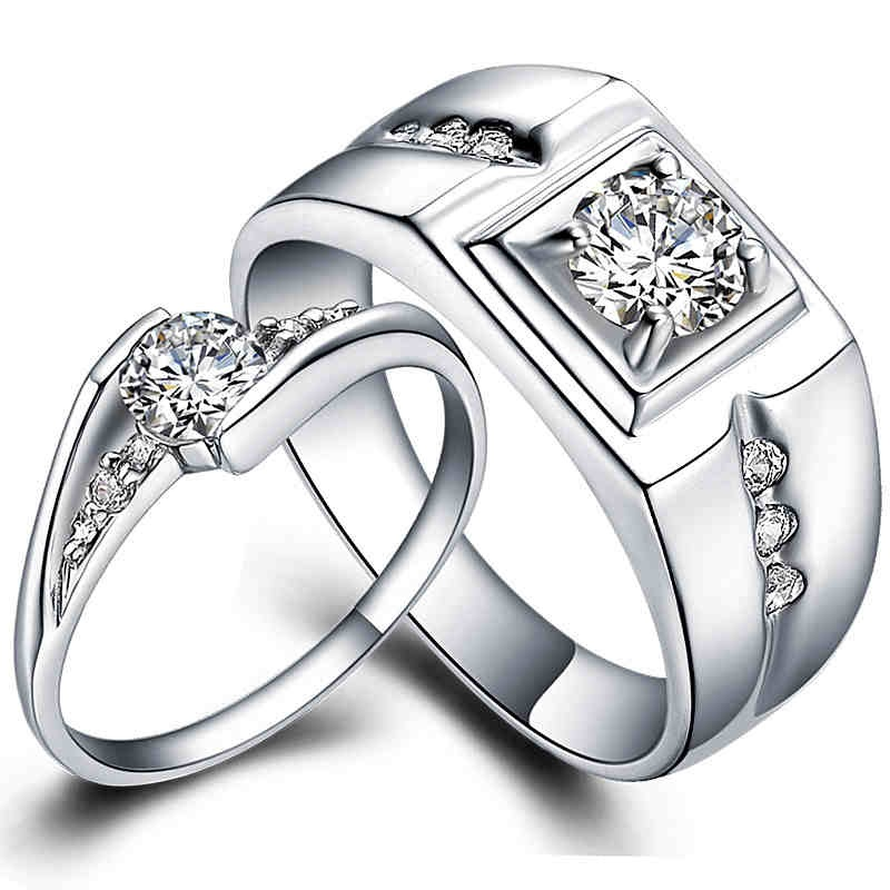 Pair 925 sterling silver wedding ring set White Gold fill his and hers promis