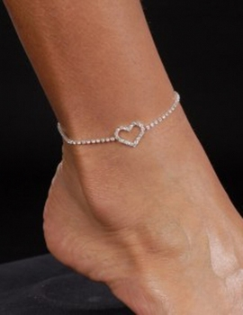 Silver Plated Fashion Heart Anklet Ankle chain Ankle Bracelet Sexy Jewelry Rhinestone women fashion jewelry wedding accessories