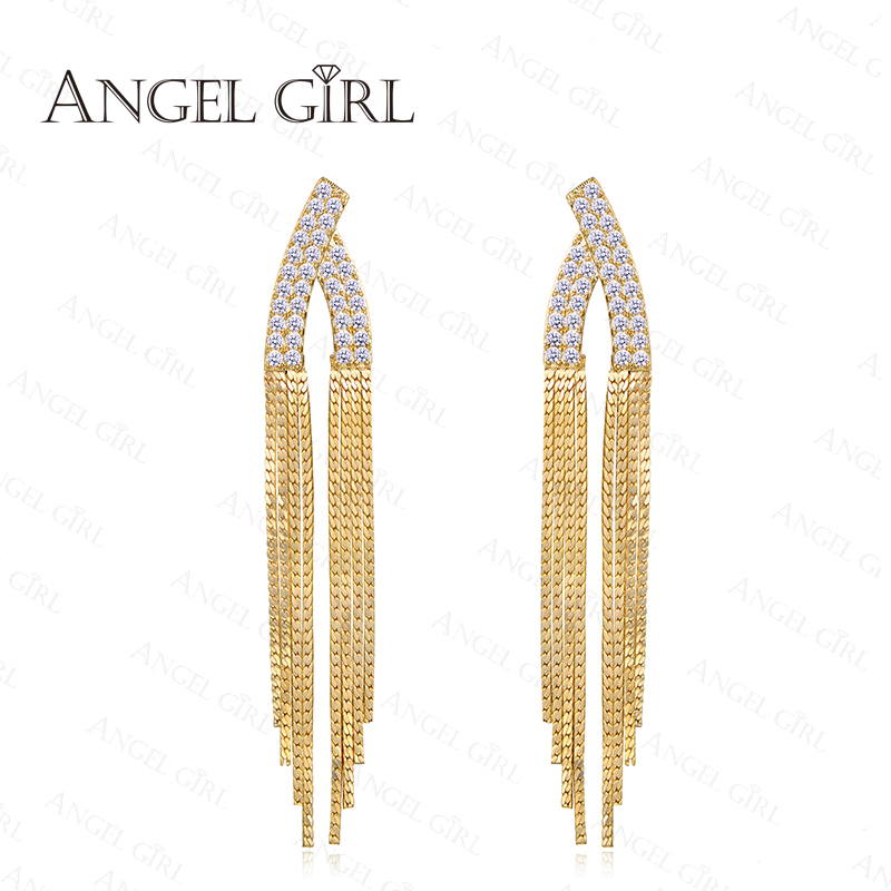 Angle Girl Trendy AAA+CZ square Stud Earrings set For Women 2016 tassel Jewelry Vintage 18K Platinum Plated Earring E22-60727(China (Mainland))
