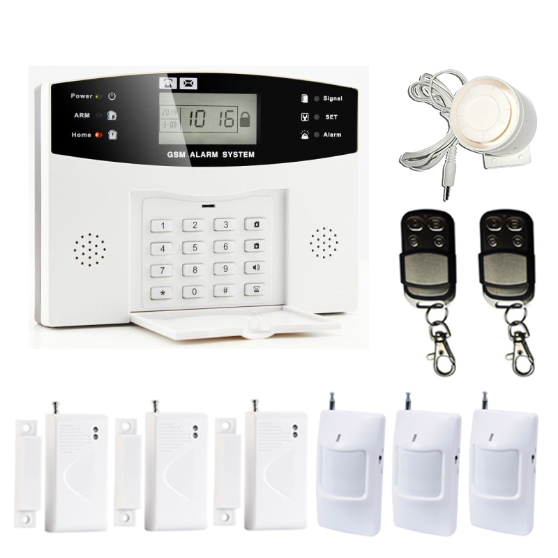 Wireless GSM SMS Alarm Home Security Alarm System With Remote Detector Wired Poezo Siren Door Contact PIR Motion Sensor <br><br>Aliexpress