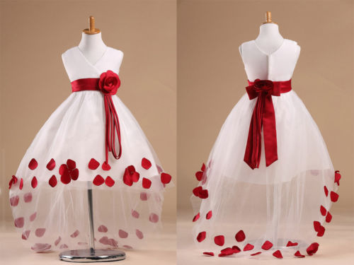 hot sale 2015 new arrival Red Baby Girls Kids Princess Flower Party Wedding Prom Gown Formal Dress children Dresses 5-6Y UK(China (Mainland))