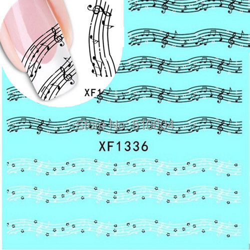 1 sheets Fashion Musical Notes Design Nail Art Tips Water Transfer Sticker Decals Decoration DIY #XF1336(China (Mainland))