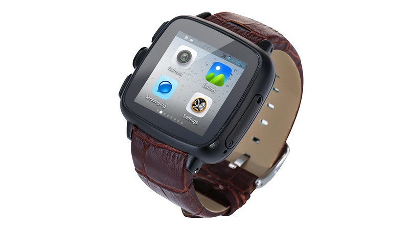 2015 New Waterproof Smart Watch, MTK6572 Watch Phone with SIM slot 5mp Camera, Waterproof Leather Wrist Smartwatch Excellet Gift