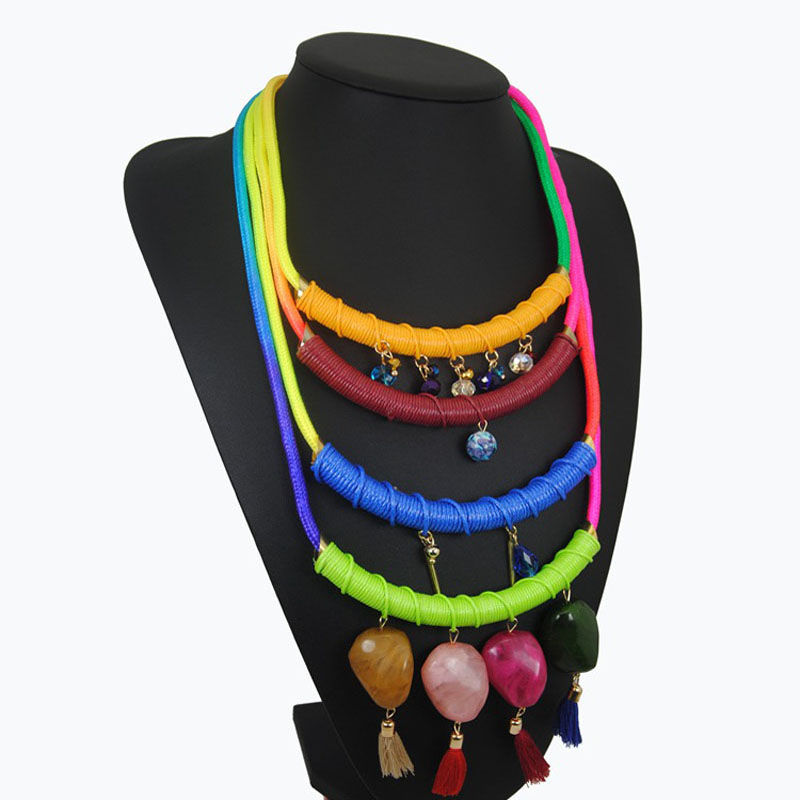 fashion accesories for women 2016 handmade cotton rope necklace spring style colorful bohemian necklace stone collier jewelry(China (Mainland))