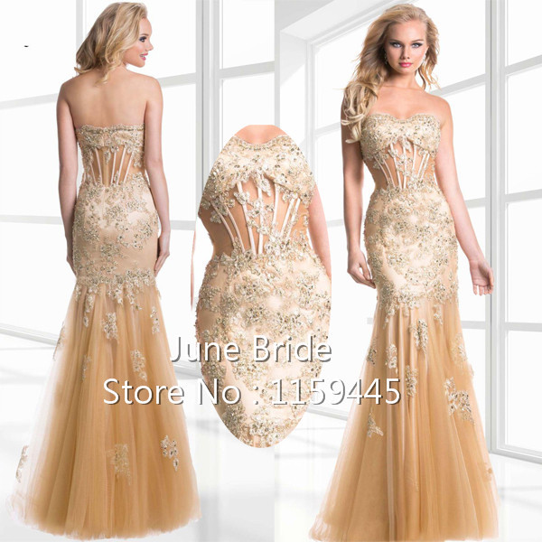 Fitted Gold Tulle Mermaid Sweetheart Evening Gown See Bodice Beaded Pleated Gowns Dresses Janique - June Bride store