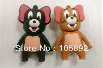 Free shipping 50pcs/lot  2GB 4GB 8GB 16GB 32GB PVCJerry mouse usb flash drive memory stick thumb drive pen memory pendrive