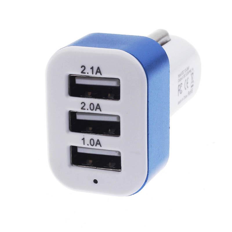 Hot Brand Car Universal 12V 24V To 5V 3 Port car smart phone USB Charger Adapter For Smart phone GPS11.89-15